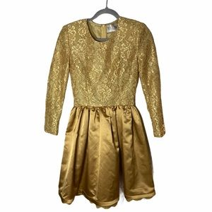 VTG Bill Blass Gold Fit and Flare Gown Lace Satin